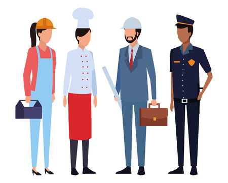 Jobs and professional workers faceless avatar vector illustration graphic design Illustration