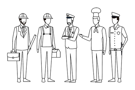 Jobs and professional workers faceless avatar vector illustration graphic design