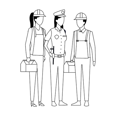 Jobs and professions workers faceless avatars vector illustration graphic design Ilustracja