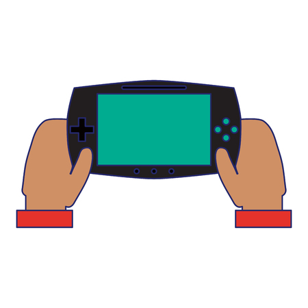 hands using videogame console vector illustration graphic design