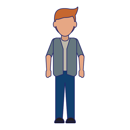young man smiling cartoon vector illustration graphic design