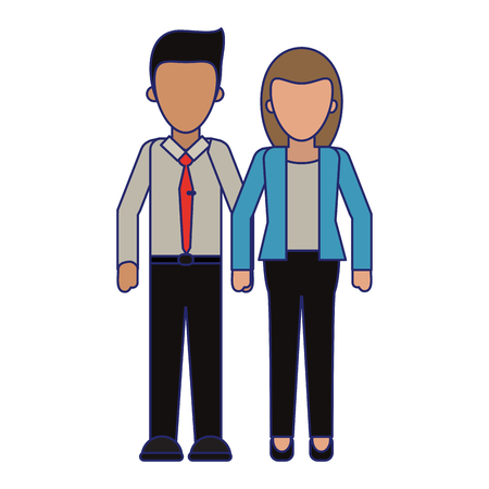 Executive business couple clasped hands vector illustration graphic design Ilustração