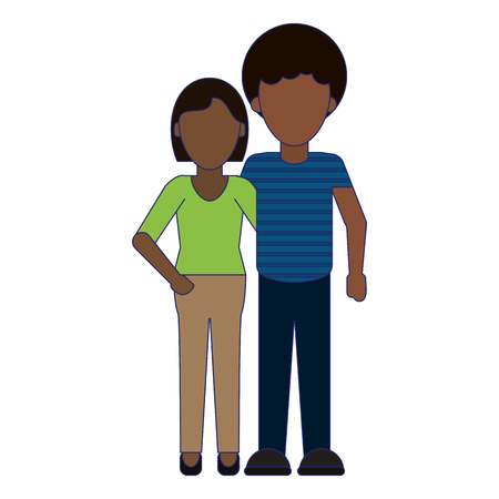 afro woman and man couple cartoon vector illustration graphic design