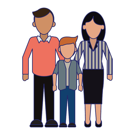 Family Executive parents with son vector illustration graphic design