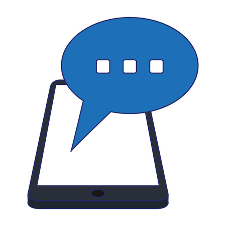 smartphone chat bubble symbol vector illustration graphic design