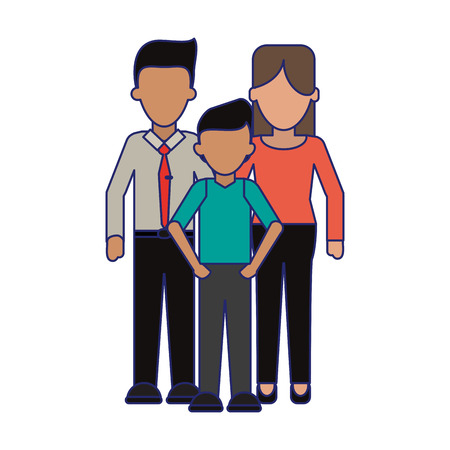Family Executive parents with son vector illustration graphic design Banque d'images - 124729533