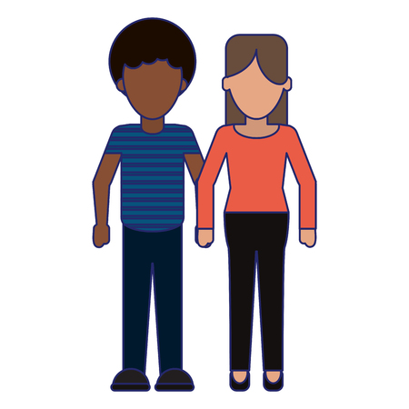 young woman and man couple cartoon vector illustration graphic design