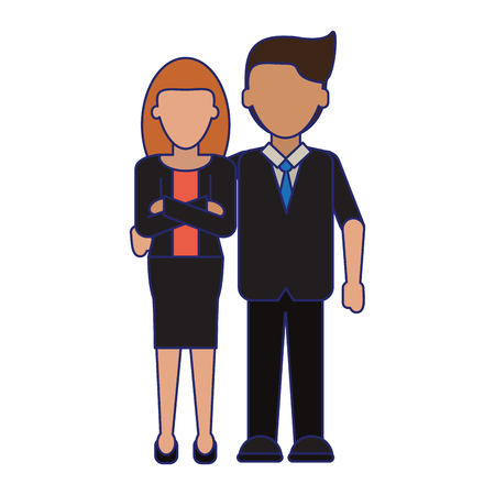 executive businessman and woman couple cartoon vector illustration graphic design