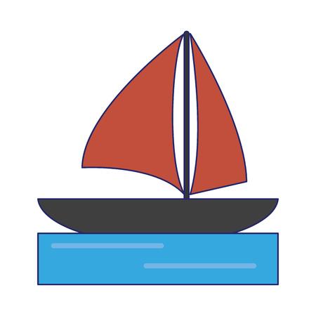 sailboat on the sea symbol vector illustration graphic design