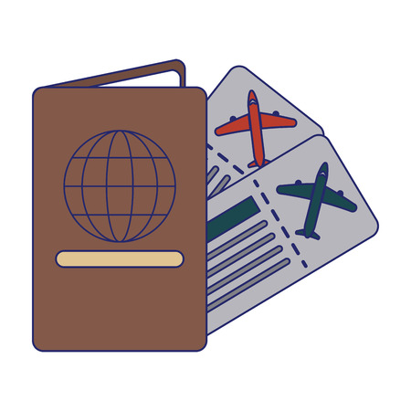 Vacation and travel passport and tickets vector illustration graphic design