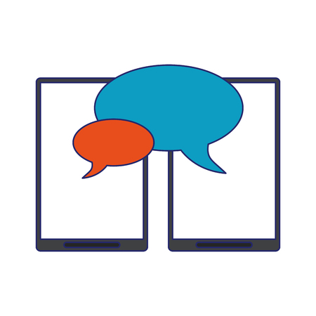 smartphone chat with bubbles symbol vector illustration graphic design