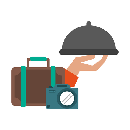 Vacation and travel suitcase camera and hand with dish dome vector illustration graphic design Фото со стока - 124729584