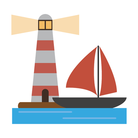 houselight and sailboat symbol vector illustration graphic design Ilustracja