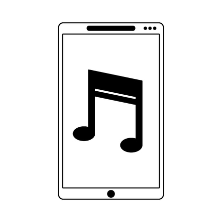smartphone with music note symbol on screen vector illustration graphic design Çizim