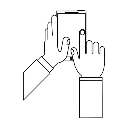 hands with smartphone mobile technology vector illustration graphic design Çizim