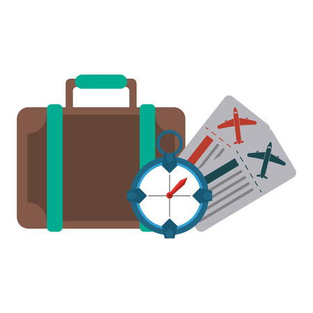 Vacation and travel suitcase and timer with flight tickets vector illustration graphic design