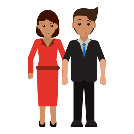 Executive business couple clasped hands vector illustration graphic design Иллюстрация