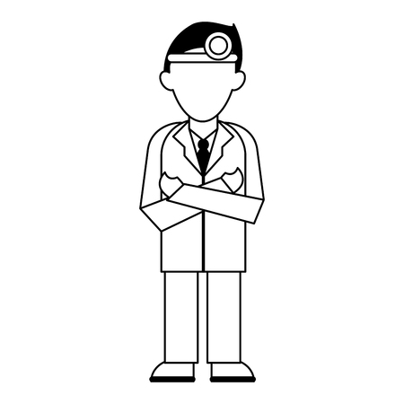 medical doctor with gown and headlight avatar cartoon vector illustration graphic design 일러스트