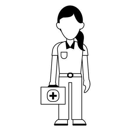 paramedic with first aids suitcase vector illustration graphic design 일러스트