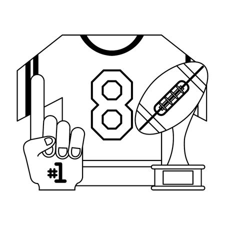 American football game tshirt trophy cup and fan glove vector illustration graphic design