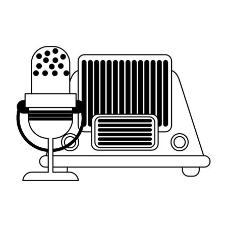 vintage old radio and microphone vector illustration graphic design Ilustração