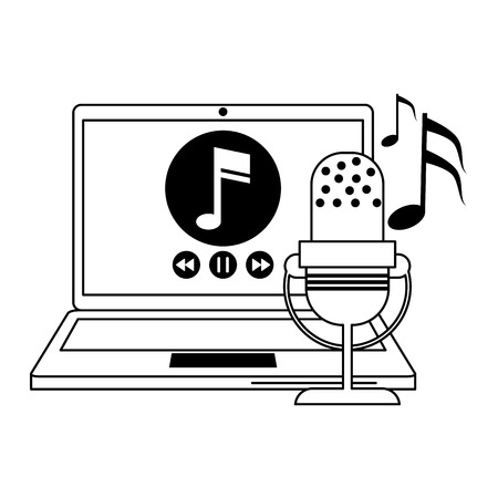 Laptop with music player and vintage microphone vector illustration graphic design