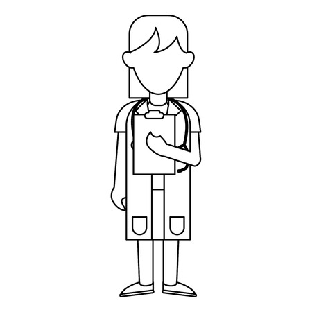 medical woman doctor with clipboard avatar cartoon vector illustration graphic design