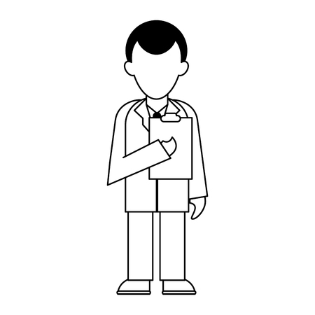 medical doctor with clipboard avatar cartoon vector illustration graphic design