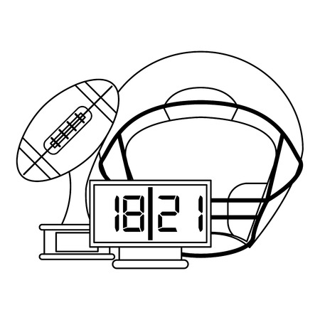 American football game helmet trophy cup and timer vector illustration graphic design