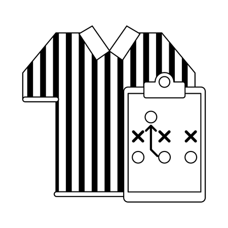 American football game referee tshirt and strategy on blackboard vector illustration graphic design