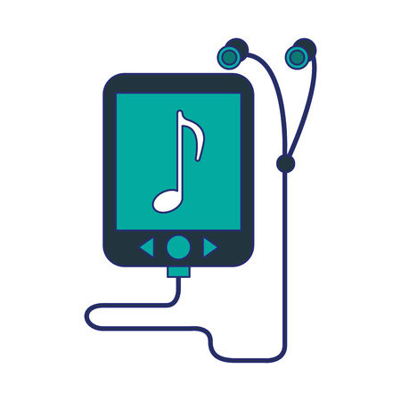 music player mp3 with earphones vector illustration graphic design
