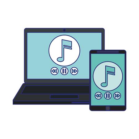 Smartphone und Laptop mit Musik-Player-Vektor-Illustration-Grafik-Design