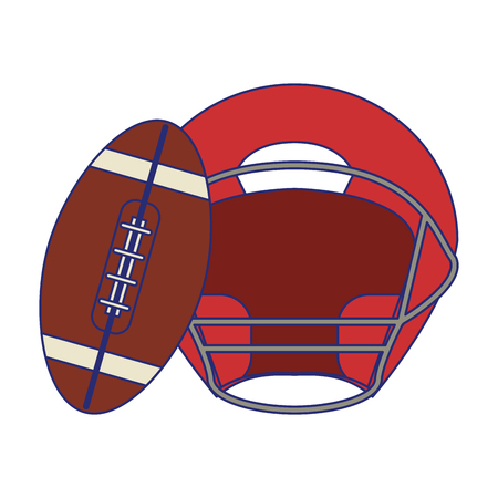 American football game ball and helmet vector illustration graphic design