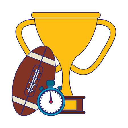 American football game ball trophy cup and timer vector illustration graphic design Иллюстрация