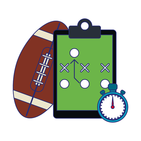 American football game strategy blackboard timer and ball vector illustration graphic design