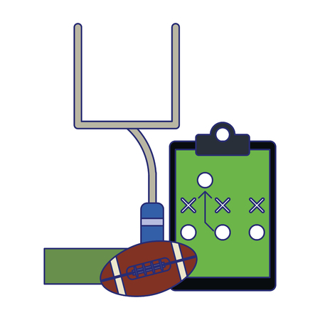 American football game ball goal and strategy blackboard vector illustration graphic design Illustration