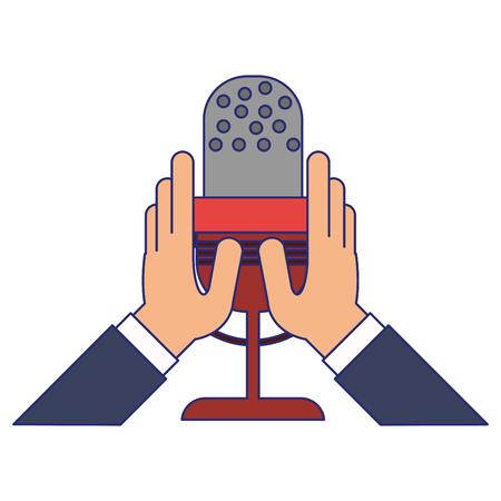 hands holding microphone symbol vector illustration graphic design Illustration