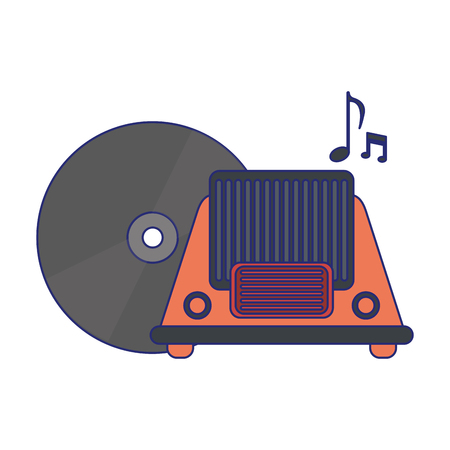 vintage radio and old vinyl vector illustration graphic design