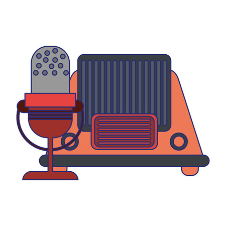 vintage old radio and microphone vector illustration graphic design Banco de Imagens - 124729748