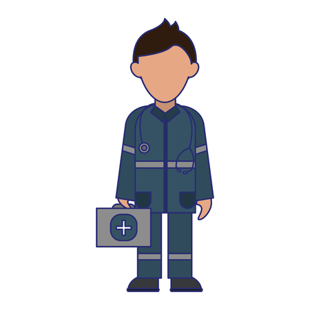 medical paramedic with first aids avatar cartoon vector illustration graphic design