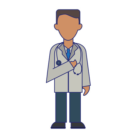 medical doctor with gown and stethoscope avatar cartoon vector illustration graphic design
