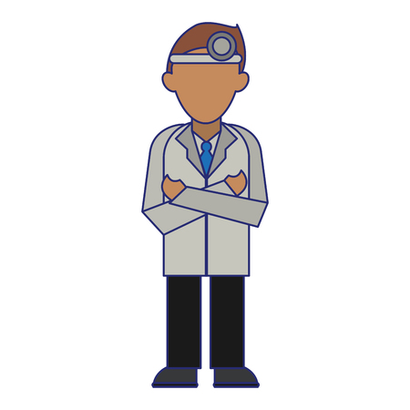 medical doctor with gown and headlight avatar cartoon vector illustration graphic design Çizim