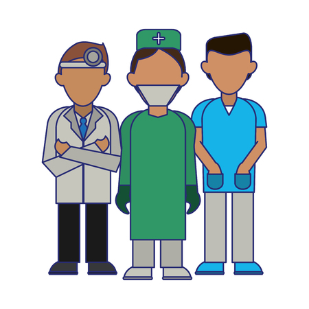 Medical doctors and surgeon teamwork avatar vector illustration graphic design