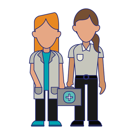 Medical doctor and paramedic women teamwork avatar vector illustration graphic design