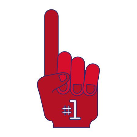 sport fan glove number one symbol vector illustration graphic design