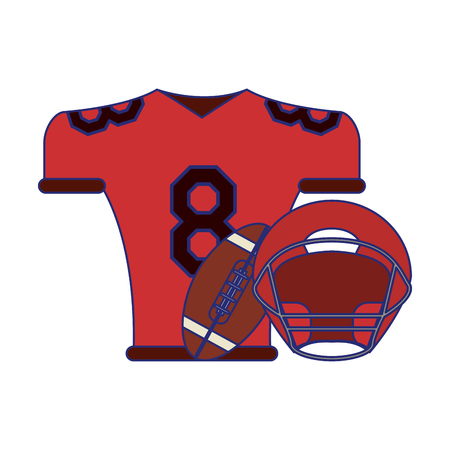 American football game tshirt and ball with helmet vector illustration graphic design