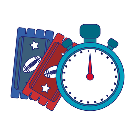American football game tickets and timer vector illustration graphic design Illustration