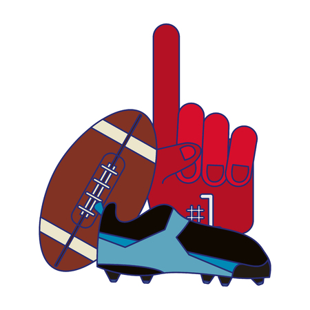 American football game ball boot and fan glove vector illustration graphic design Иллюстрация