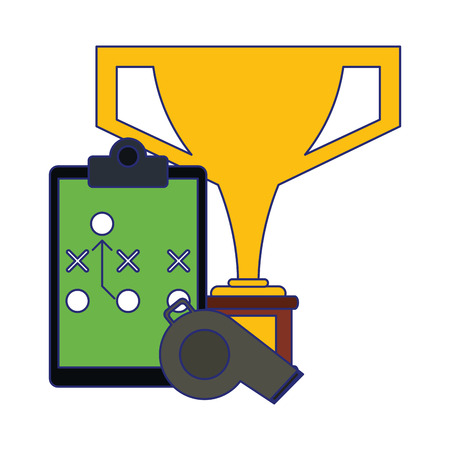 American football game trophy cup strategy blackboard and whistle vector illustration graphic design