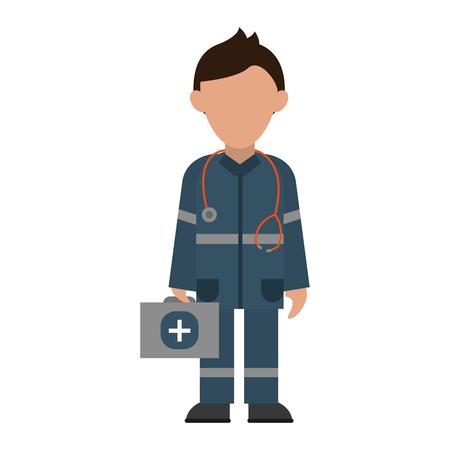 medizinischer Sanitäter mit Erste-Hilfe-Avatar-Cartoon-Vektor-Illustration-Grafik-Design
